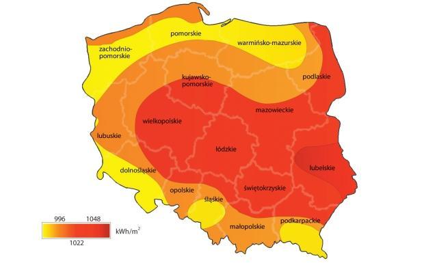 Natężenie promieniowania słonecznego w Polsce